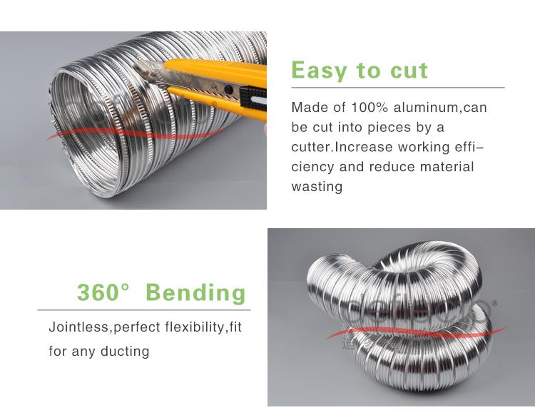 HVAC System Semi-Rigid Flexible Aluminum Duct Metal Pipe
