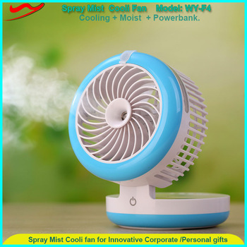 New design usb rechargeable office desk usb ultrasonic mini humidifier with fan and power bank function