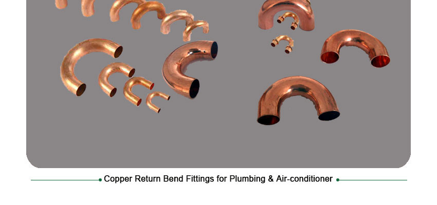 Copper return bend fittings for plumbing air conditioner