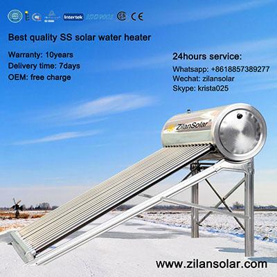 Zilansolar stainless steel solar water heater from 5tubes to 50tubes/calentadores solares/calentador de agua solar