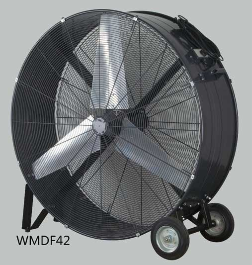 High Volume Industrial Fans : Inch high velocity belt drive drum fan floor for
