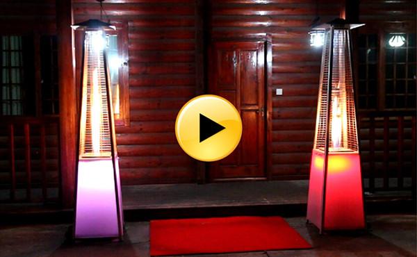 LED Lights Flame Patio Heater Scene